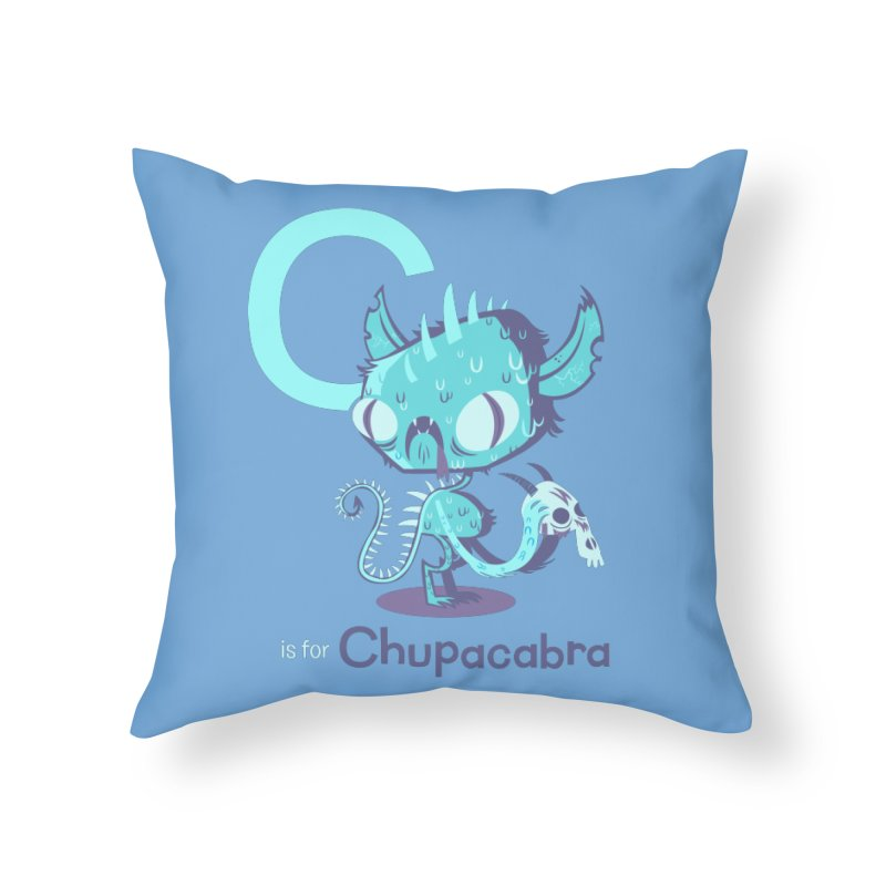C is for Chupacabra Home Throw Pillow by Hazy Dell Press