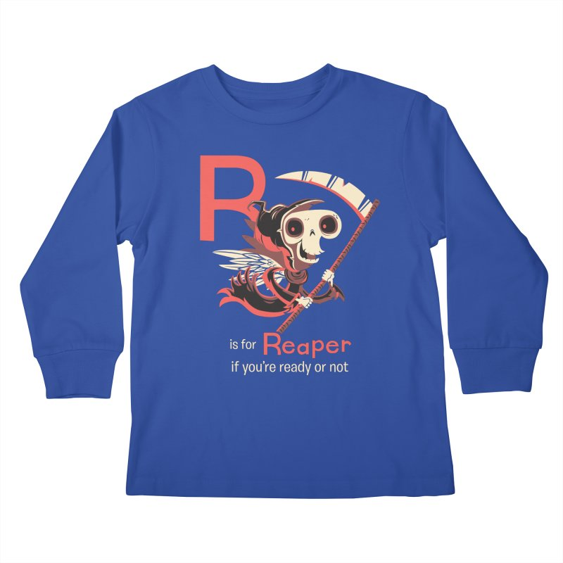 R is for Reaper Kids Longsleeve T-Shirt by Hazy Dell Press