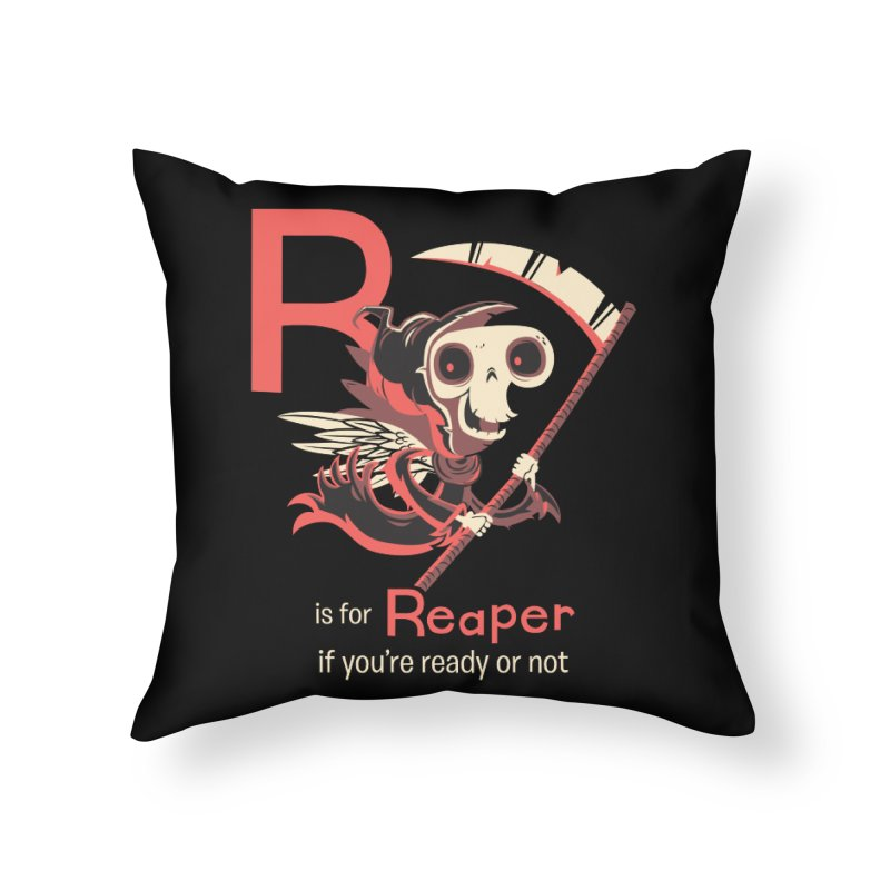 R is for Reaper Home Throw Pillow by Hazy Dell Press