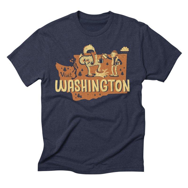 Visit Washington in Men's Triblend T-Shirt Navy by Hazy Dell Press