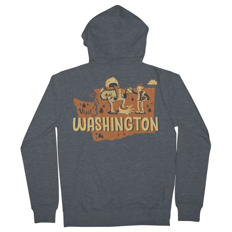 Visit Washington Men's Zip-Up Hoody by Hazy Dell Press
