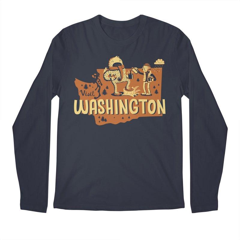Visit Washington Men's Regular Longsleeve T-Shirt by Hazy Dell Press