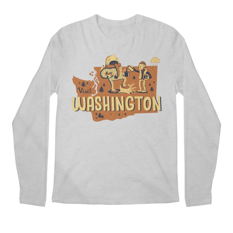 Visit Washington Men's Regular Longsleeve T-Shirt by Hazy Dell Press