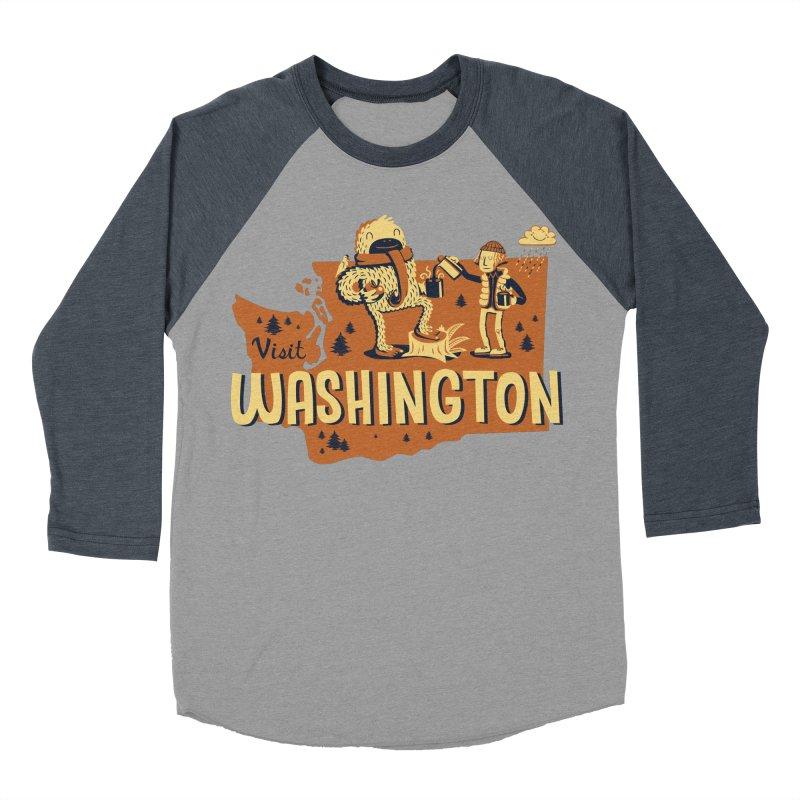 Visit Washington Men's Baseball Triblend Longsleeve T-Shirt by Hazy Dell Press