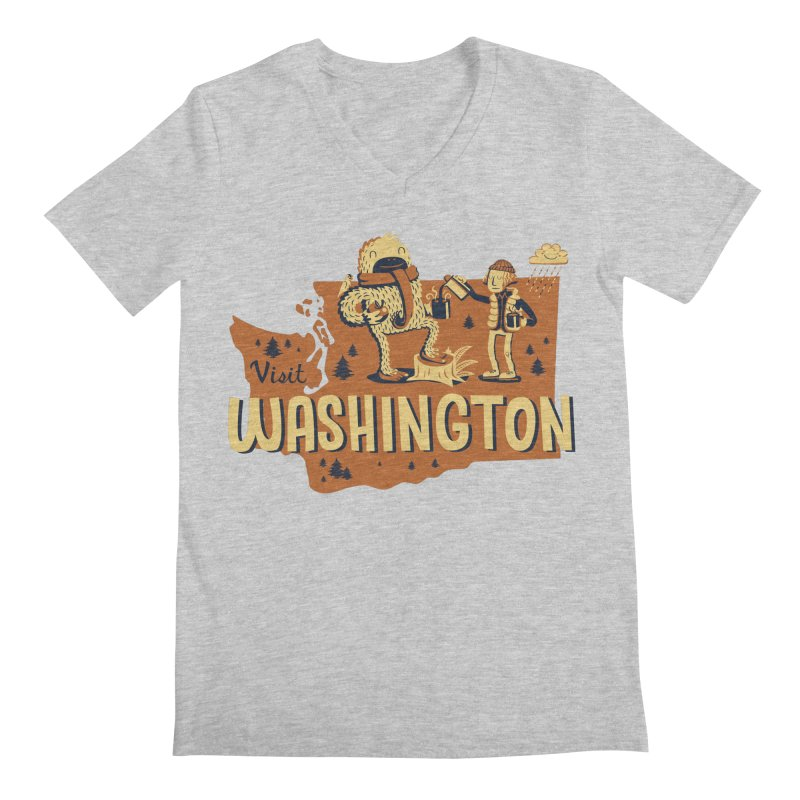 Visit Washington Men's V-Neck by Hazy Dell Press