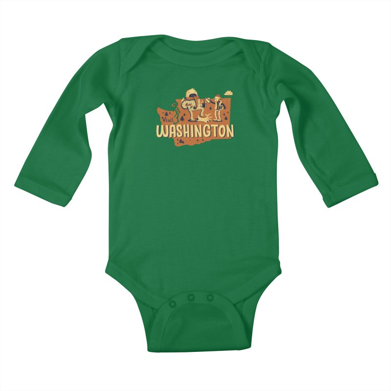 Visit Washington Kids Baby Longsleeve Bodysuit by Hazy Dell Press