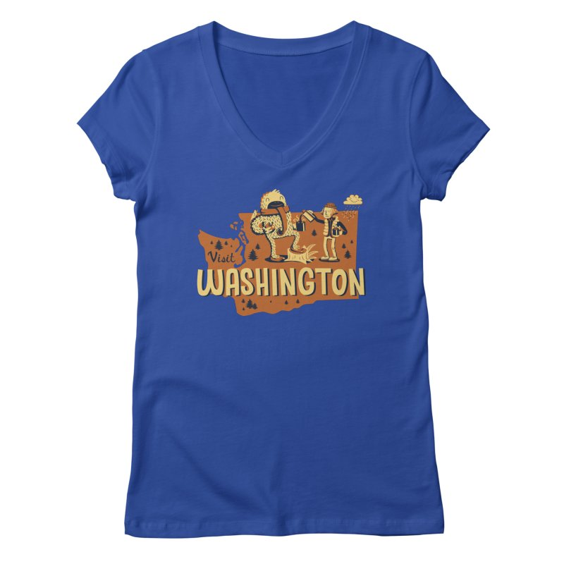 Visit Washington Women's V-Neck by Hazy Dell Press