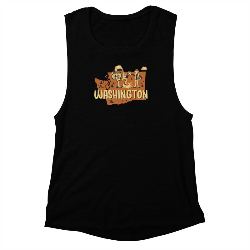 Visit Washington Women's Muscle Tank by Hazy Dell Press