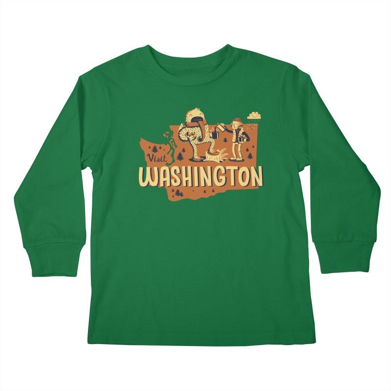 Visit Washington Kids Longsleeve T-Shirt by Hazy Dell Press