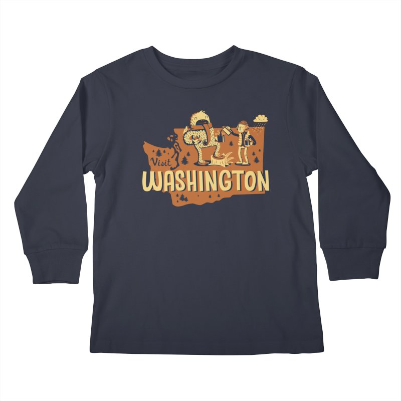 Visit Washington Kids Longsleeve T-Shirt by Hazy Dell Press