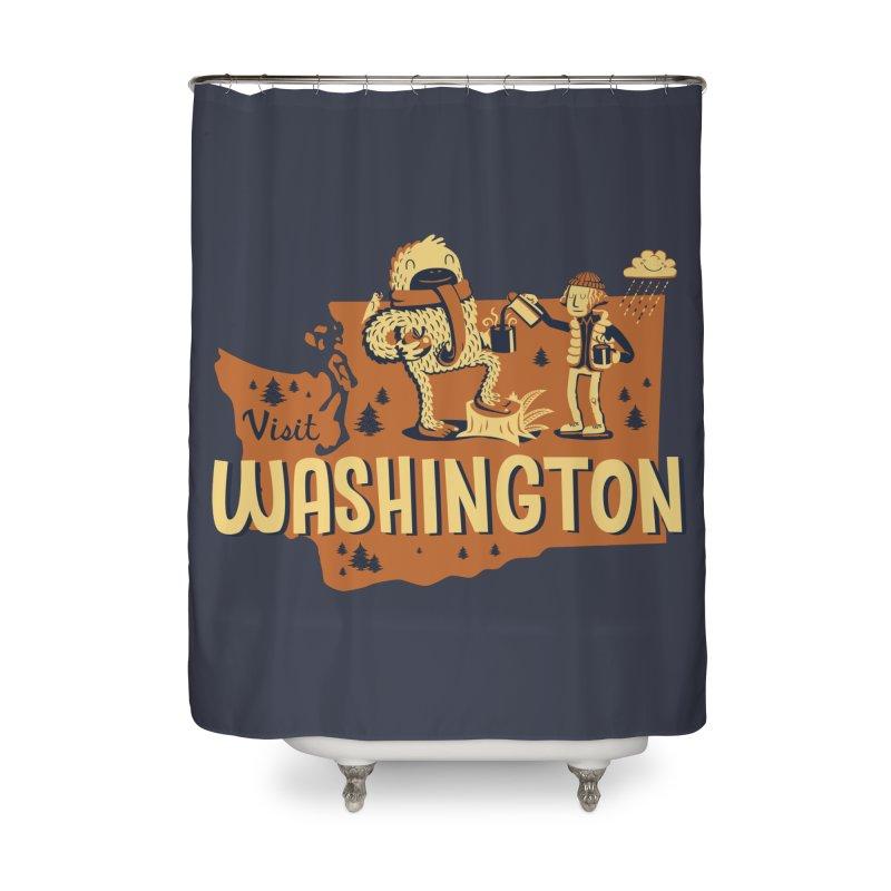 Visit Washington Home Shower Curtain by Hazy Dell Press