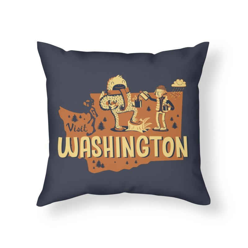 Visit Washington Home Throw Pillow by Hazy Dell Press