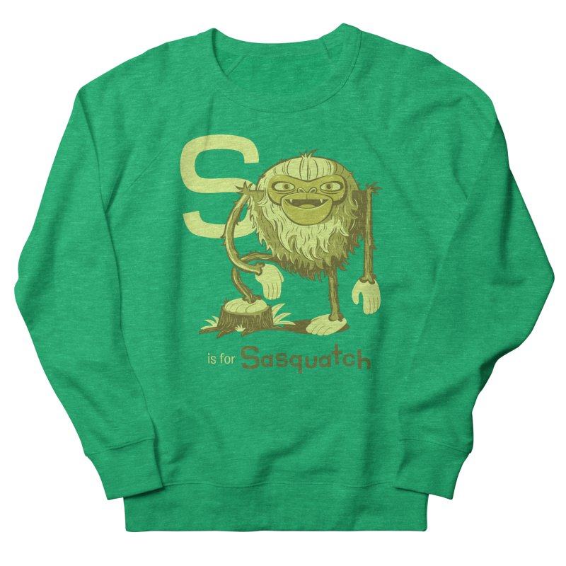 S is for Sasquatch in Men's French Terry Sweatshirt Heather Kelly by Hazy Dell Press
