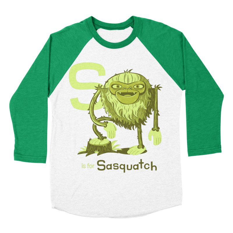 S is for Sasquatch Men's Baseball Triblend T-Shirt by Hazy Dell Press