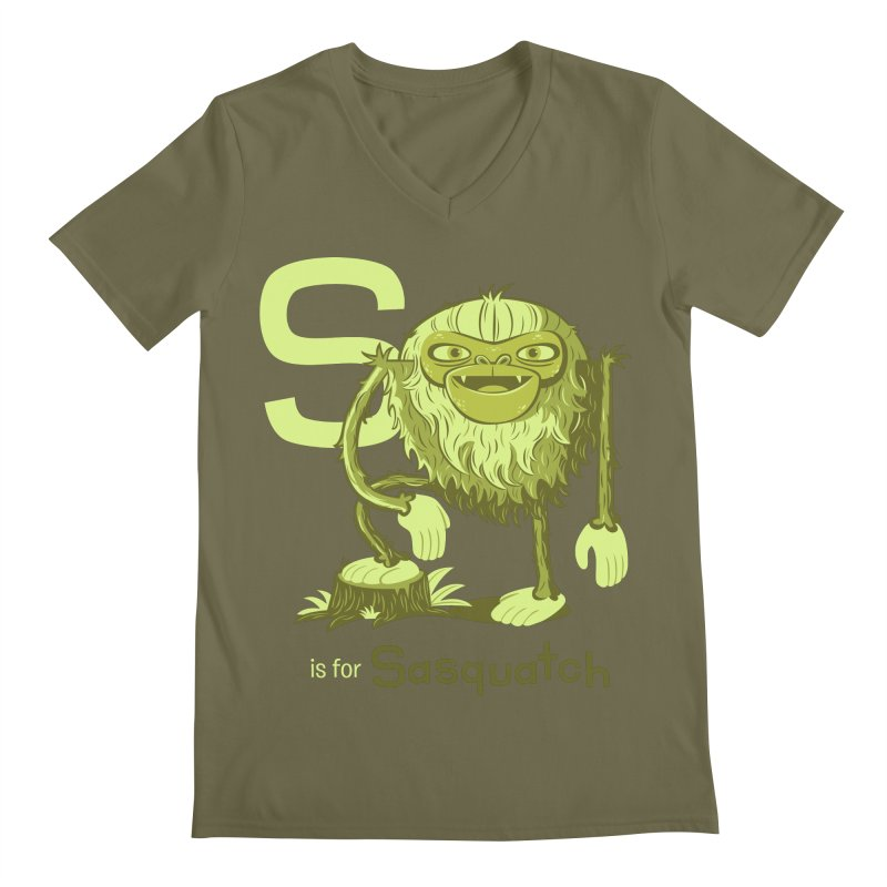 S is for Sasquatch Men's Regular V-Neck by Hazy Dell Press