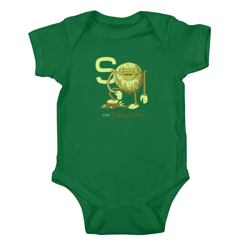 S is for Sasquatch Kids Baby Bodysuit by Hazy Dell Press