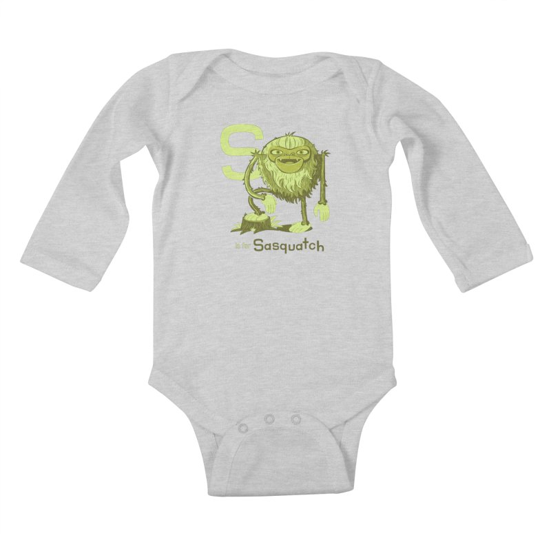 S is for Sasquatch Kids Baby Longsleeve Bodysuit by Hazy Dell Press