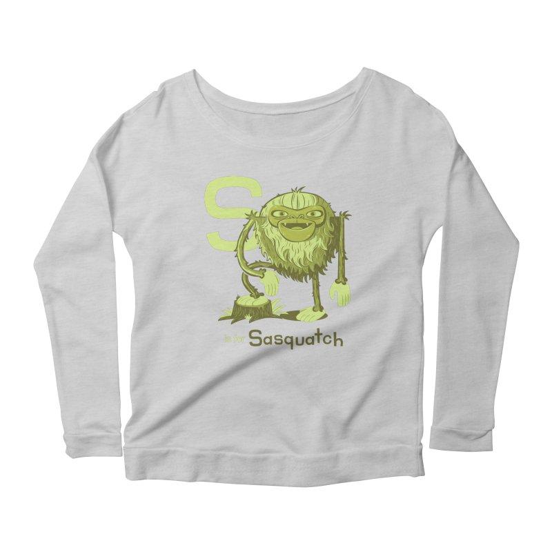 S is for Sasquatch Women's Longsleeve Scoopneck  by Hazy Dell Press