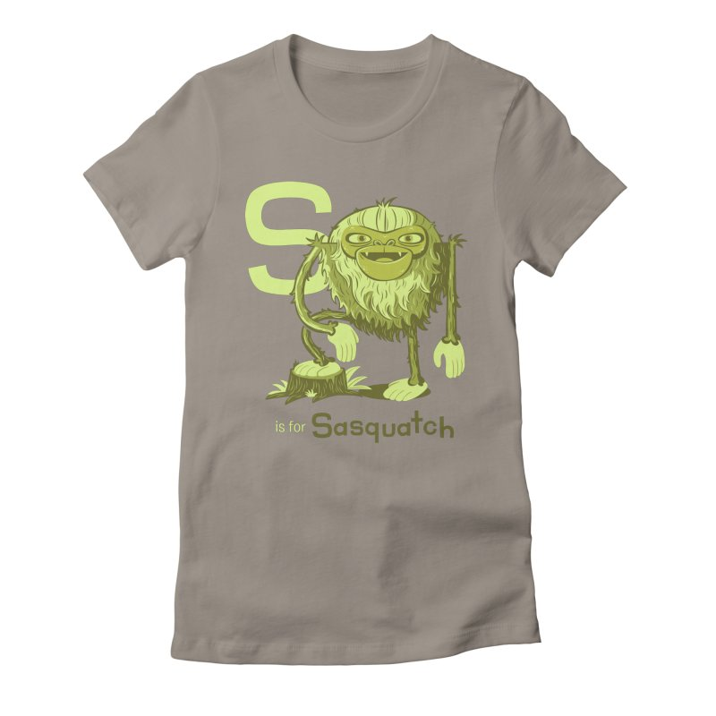 S is for Sasquatch Women's Fitted T-Shirt by Hazy Dell Press