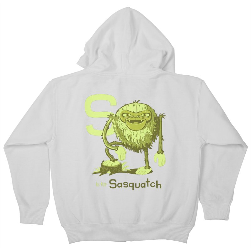 S is for Sasquatch Kids Zip-Up Hoody by Hazy Dell Press