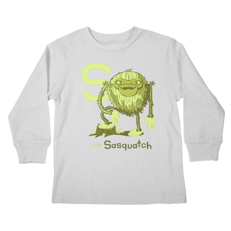 S is for Sasquatch Kids Longsleeve T-Shirt by Hazy Dell Press