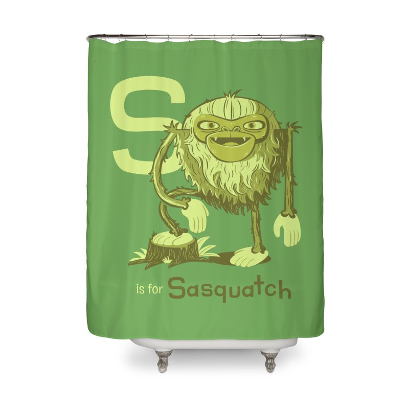 S is for Sasquatch Home Shower Curtain by Hazy Dell Press