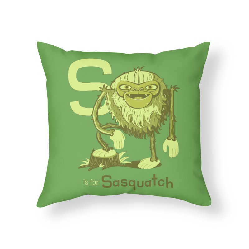 S is for Sasquatch Home Throw Pillow by Hazy Dell Press