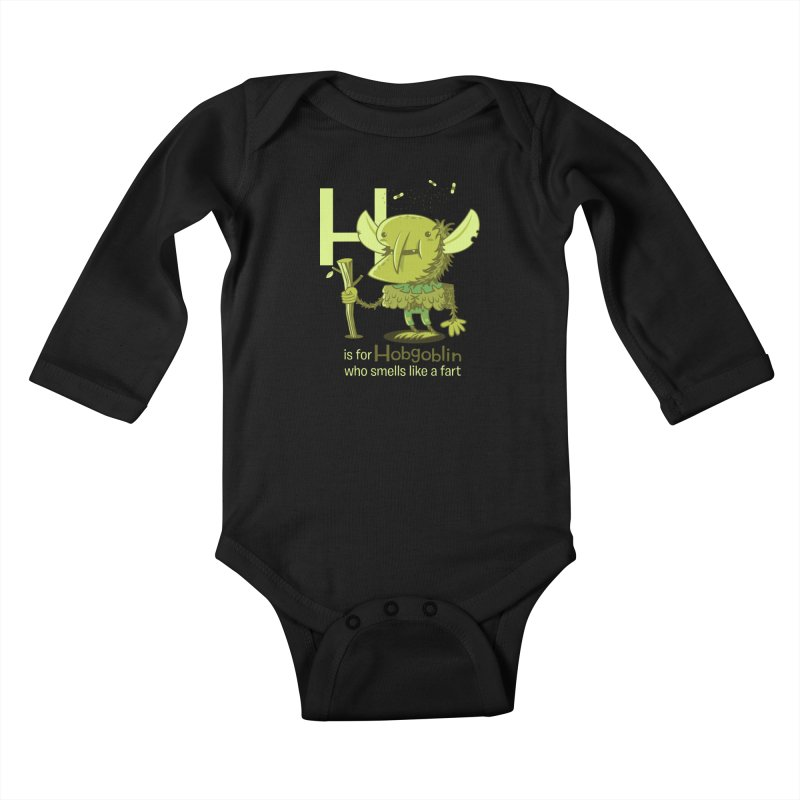 H is for Hobgoblin Kids Baby Longsleeve Bodysuit by Hazy Dell Press