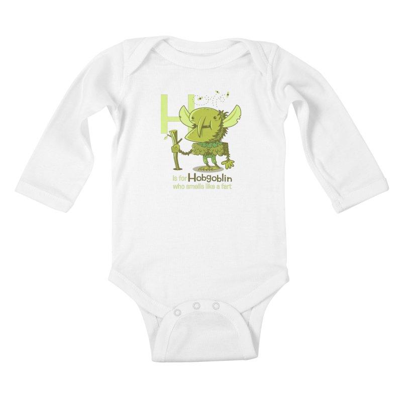 H is for Hobgoblin Kids Baby Longsleeve Bodysuit by Hazy Dell Press
