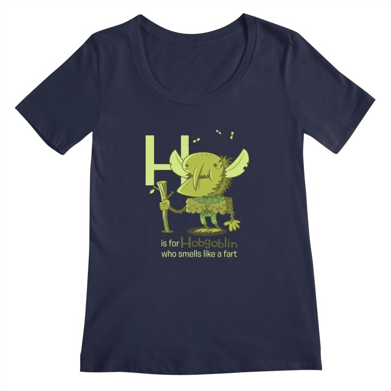 H is for Hobgoblin Women's Regular Scoop Neck by Hazy Dell Press