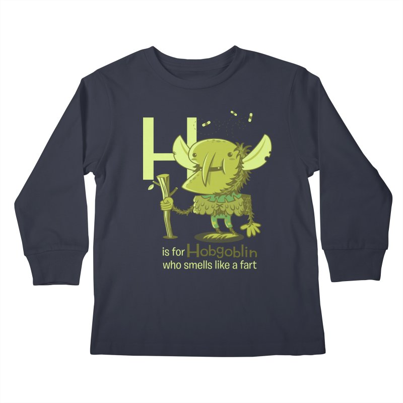 H is for Hobgoblin Kids Longsleeve T-Shirt by Hazy Dell Press