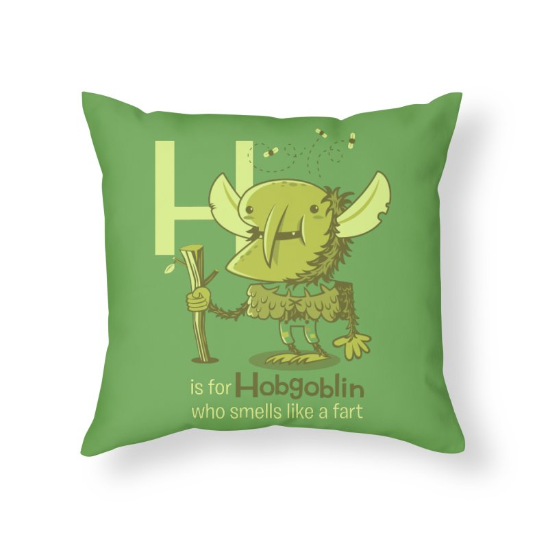 H is for Hobgoblin Home Throw Pillow by Hazy Dell Press