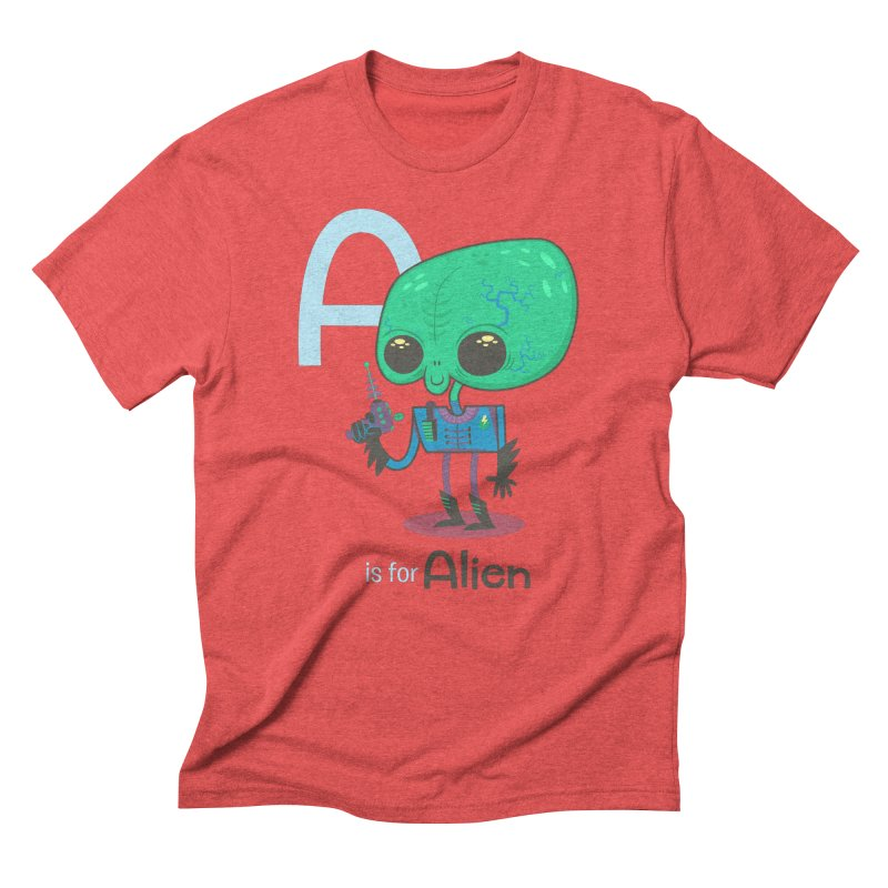 A is for Alien in Men's Triblend T-Shirt Chili Red by Hazy Dell Press