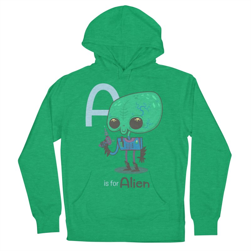A is for Alien Men's French Terry Pullover Hoody by Hazy Dell Press