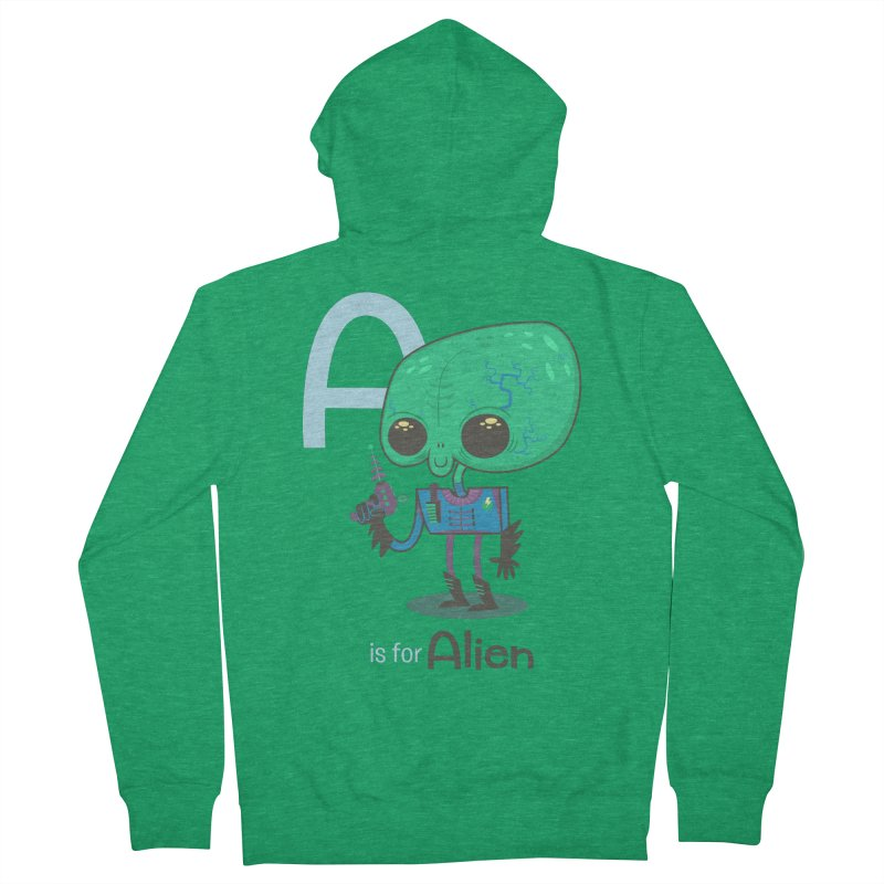 A is for Alien Women's French Terry Zip-Up Hoody by Hazy Dell Press