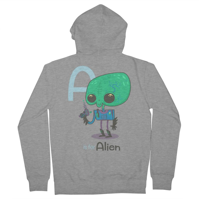 A is for Alien Men's French Terry Zip-Up Hoody by Hazy Dell Press
