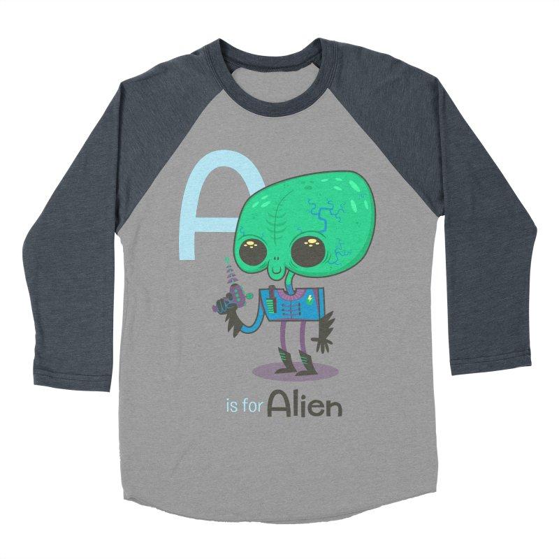 A is for Alien Women's Baseball Triblend Longsleeve T-Shirt by Hazy Dell Press