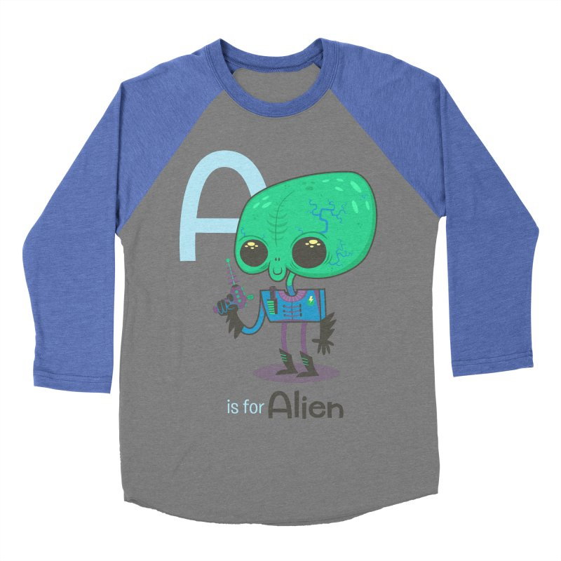 A is for Alien Men's Baseball Triblend T-Shirt by Hazy Dell Press