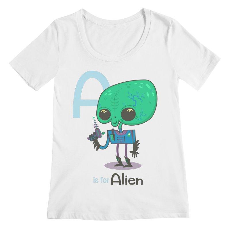 A is for Alien Women's Scoopneck by Hazy Dell Press
