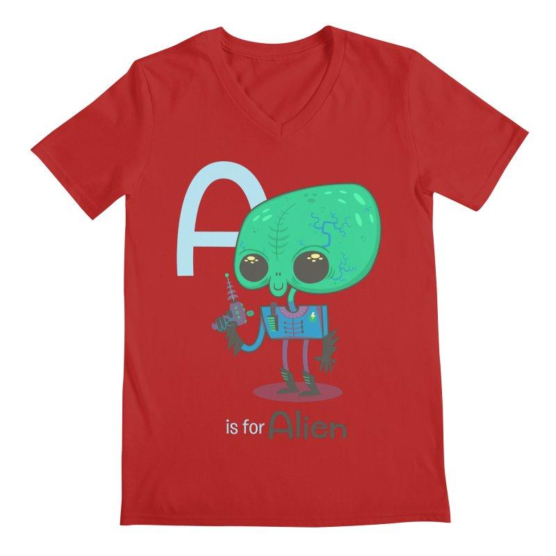 A is for Alien Men's V-Neck by Hazy Dell Press
