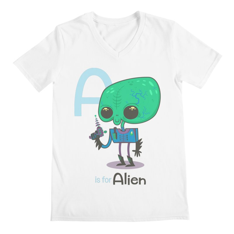 A is for Alien Men's V-Neck by Hazy Dell Press