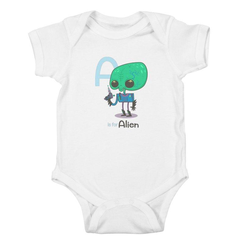 A is for Alien Kids Baby Bodysuit by Hazy Dell Press