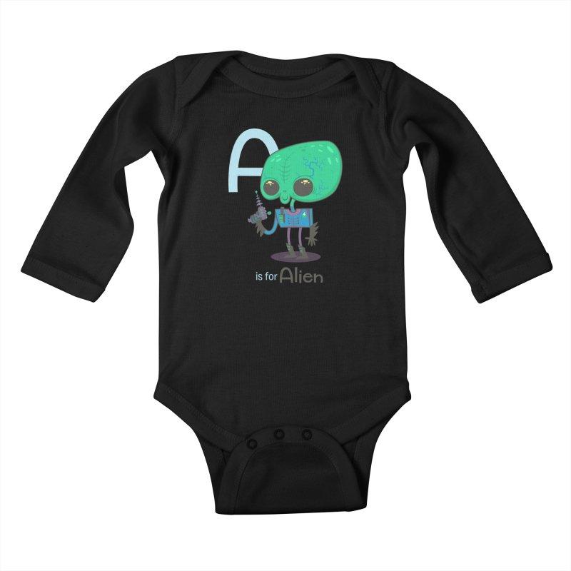 A is for Alien Kids Baby Longsleeve Bodysuit by Hazy Dell Press