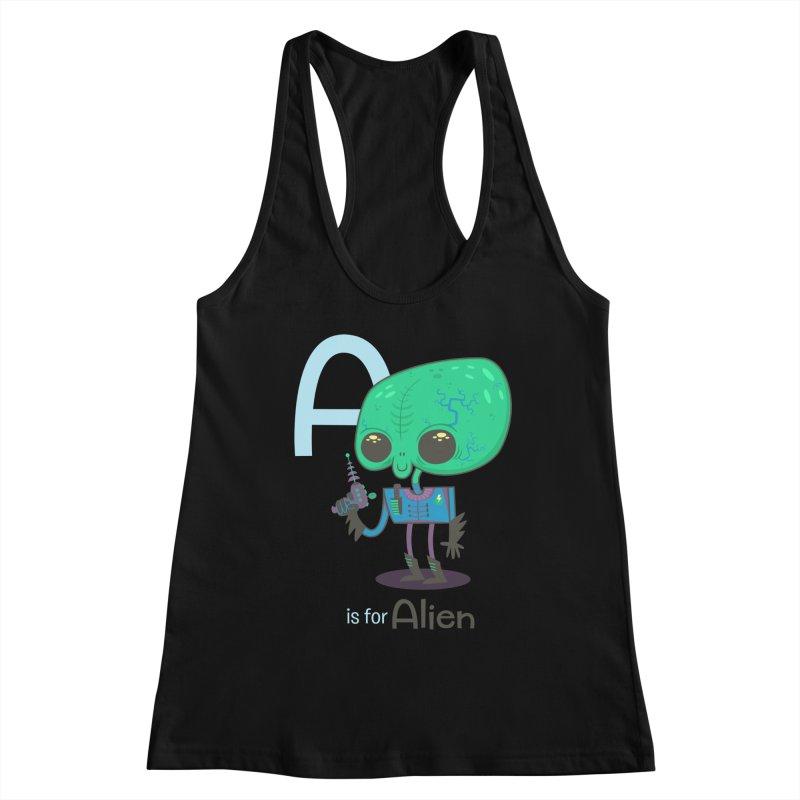 A is for Alien Women's Racerback Tank by Hazy Dell Press