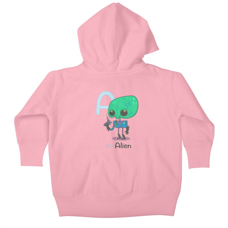 A is for Alien Kids Baby Zip-Up Hoody by Hazy Dell Press
