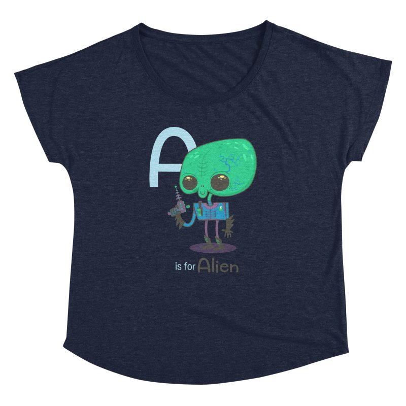 A is for Alien Women's Dolman Scoop Neck by Hazy Dell Press