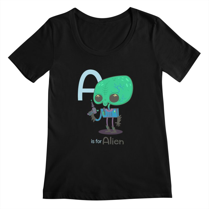 A is for Alien Women's Scoopneck by Hazy Dell Press
