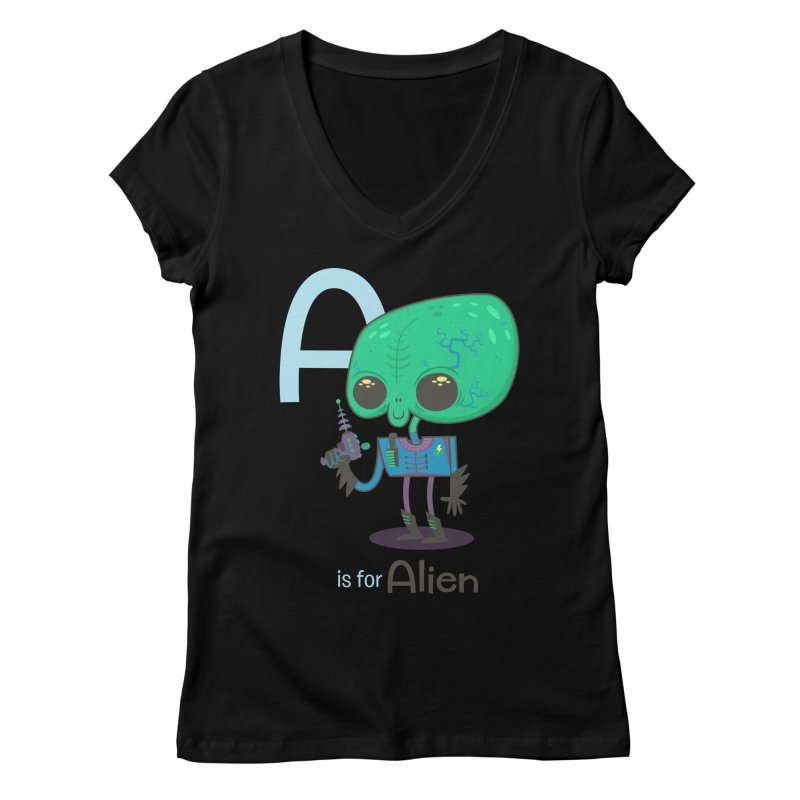 A is for Alien Women's V-Neck by Hazy Dell Press