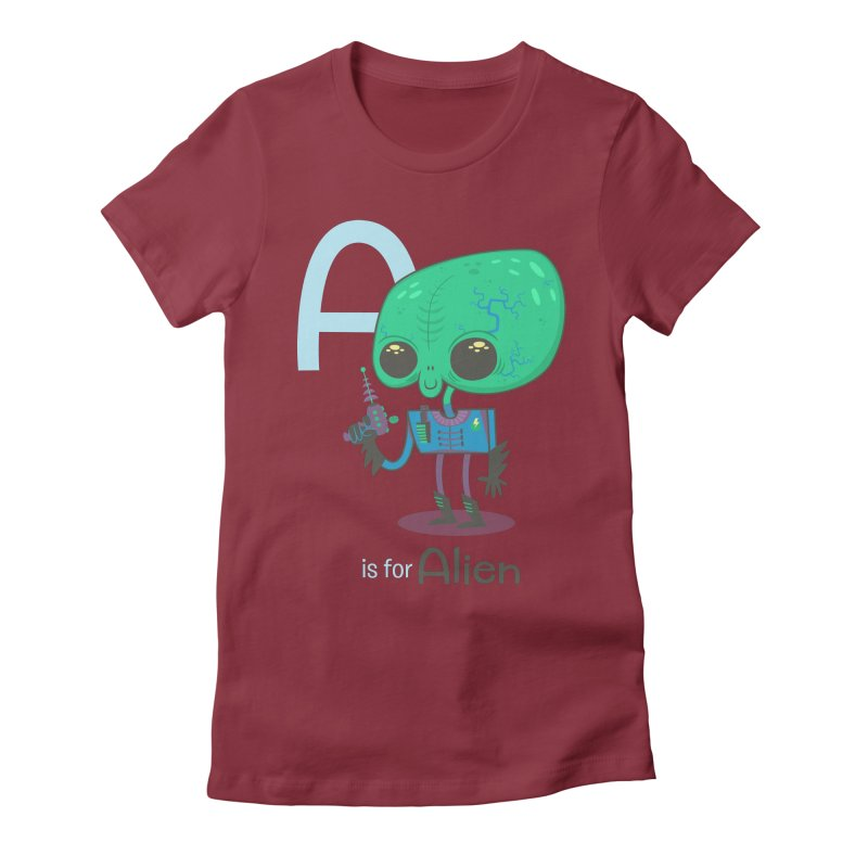 A is for Alien Women's Fitted T-Shirt by Hazy Dell Press