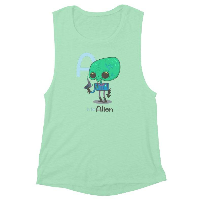 A is for Alien Women's Muscle Tank by Hazy Dell Press